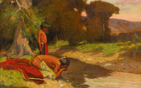 Картинка река, отец и сын, Eanger Irving Couse, The Cooling Stream