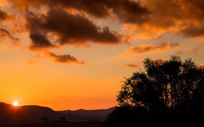 Картинка небо, облака, пейзаж, закат