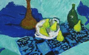 Картинка 2008, кувшин, натюрморт, груши, бутыка, Петяев, синие полотенца
