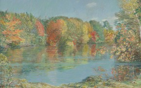 Картинка осень, пейзаж, картина, Frederick Childe Hassam, Чайльд Гассам, Уолденский Пруд