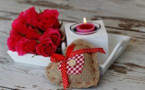 Картинка любовь, цветы, розы, свеча, букет, сердечки, красные, red, love, wood, flowers, romantic, hearts, Valentine's Day, …