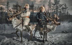 Обои снег, люди, олени