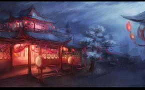 Картинка ночь, улица, Япония, сакура, цветение, свет в окнах, красные фонари, деревянные домики, безлюдный город