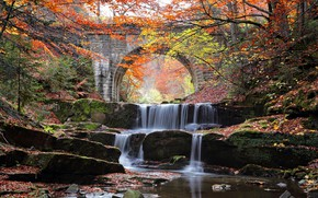 Картинка осень, вода, деревья, мост, река, камни, каскад