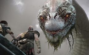 Картинка snake, armor, Kratos, God of War, Loki, Jormungand, god, arrow, Jörmundgander, god slayer, E3 2017, …