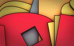 Обои слой, краски, угол, объем, линии, квадрат