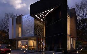 Картинка дизайн, освещение, строение, MODERN VILLA, NIGHT SCENE