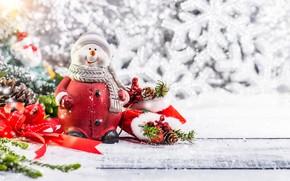 Картинка зима, снег, украшения, снежинки, елка, Новый Год, Рождество, снеговик, happy, Christmas, wood, winter, snow, New …