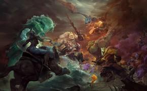 Картинка арт, битва, герои, dota 2, moba