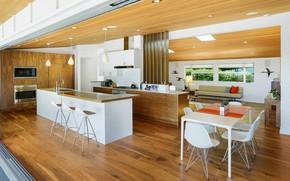 Картинка интерьер, кухня, гостиная, столовая, Home in Pacific Palisades