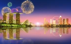Картинка море, пейзаж, lights, огни, небоскребы, салют, Сингапур, архитектура, мегаполис, blue, night, fountains
