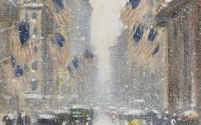 Картинка картина, городской пейзаж, Guy Carleton Wiggins, Гай Уиггинс, Пурга на 5-й Авеню в день рождения …