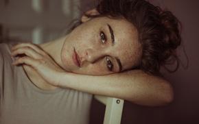 Картинка девушка, портрет, веснушки