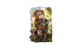 Картинка котенок, друзья, обезьянка