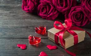 Картинка цветок, любовь, сердце, роза, свеча, подарки, сердечки, love, romantic, Valentine's Day