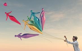 Картинка небо, воздушные шары, человек, Chris Jones