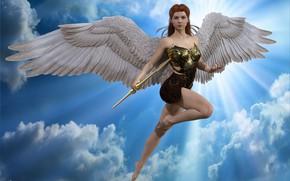 Картинка девушка, небеса, ангел