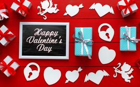 Картинка любовь, сердце, подарки, сердечки, love, happy, heart, wood, romantic, Valentine's Day, gift