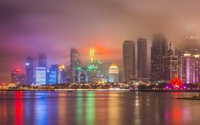 Картинка Туман, Ночь, Город, Река, Небоскребы, Китай, Городской Пезайж