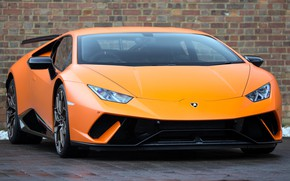 Картинка Lamborghini, orange, Performante, Huracan, 2017