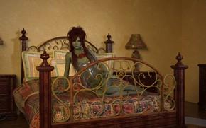 Картинка девушка, кровать, зелёная кожа