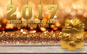 Картинка Новый Год, Рождество, golden, christmas, new year, happy, balls, merry christmas, gift, decoration, xmas, 2017
