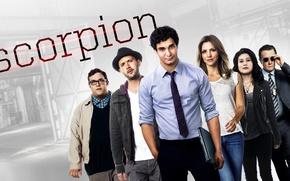 Картинка girl, man, Scorpion, cast, tie, tv series
