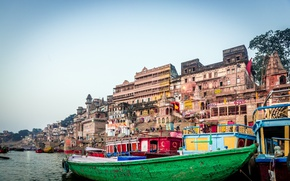 Обои Ганг, Boat, Лодка, Варанаси, İndia, River Ganges, Ganges, Река Ганг, Varanasi, Индия
