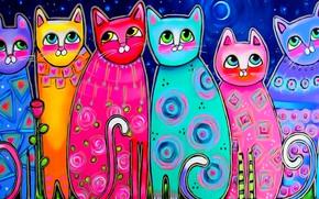 Картинка глаза, кошки, настроение, луна, рисунок, весна, арт, живопись, хвосты, разноцветные коты