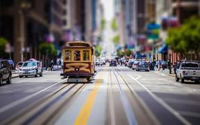 Картинка улица, трамвай, tilt shift, San Francisco, usa