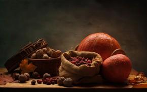 Картинка листья, стол, корзина, желтые, тыква, орехи, натюрморт, мешок, грецкие, сухофрукты