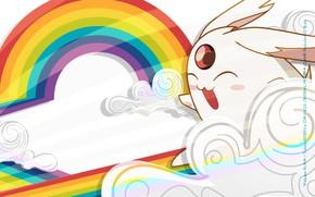 Картинка белый, радуга, аниме, арт, зверёк, xxxHolic