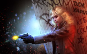 Картинка пистолет, Charlize Theron, блондинка, убийца, art, Lorraine Broughton, Atomic Blonde