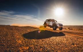 Картинка Солнце, Небо, Песок, Mini, Пыль, Белый, Спорт, Пустыня, Скорость, Полет, Свет, Гонка, Rally, Ралли, Летит, …