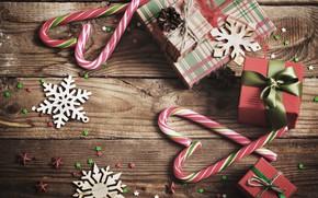 Картинка снежинки, Новый Год, Рождество, подарки, леденцы, Christmas, wood, Merry Christmas, Xmas, gift, decoration
