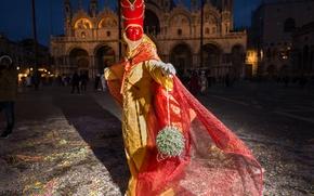 Обои костюм, карнавал, Собор Святого Марка, Венеция, Италия, ночь