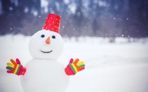 Обои зима, снег, снеговик, winter, snow, Xmas, snowman