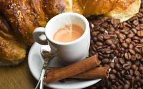 Картинка кофе, зерна, напиток, корица, булочка