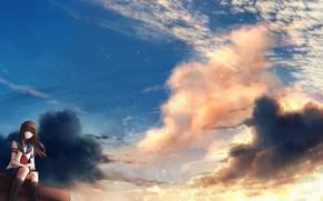 Картинка небо, девушка, самолет, CZY