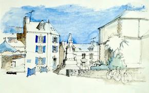 Картинка дом, рисунок, Франция, площадь, акварель, городской пейзаж, Груа