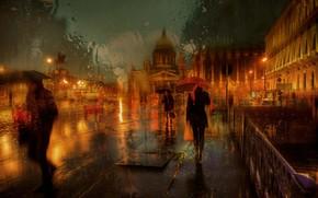 Картинка люди, дождь, улица, Санкт-Петербург, Россия