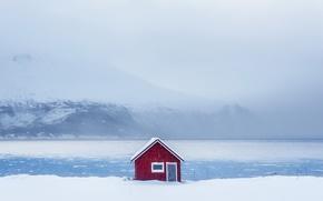 Картинка зима, снег, дом, берег