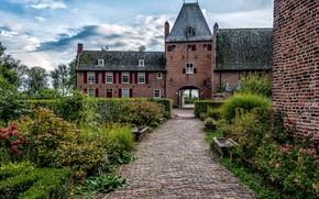 Картинка небо, облака, деревья, цветы, замок, сад, Нидерланды, кусты, Castle Doorwerth
