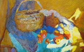 Картинка стол, корзина, яблоки, натюрморт, 2005, Петяев, синяя ткань