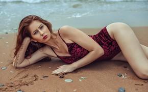 Картинка песок, море, пляж, купальник, взгляд, поза, модель, камешки, Stephanos Georgiou, Барбора Фуйдова