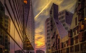 Картинка отражение, улица, дома, вечер, Амстердам, Нидерланды