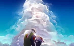 Картинка небо, облака, отец, naruto, сын, sky blue, Hatake Kakashi, by Logll, Hatake Sakumo