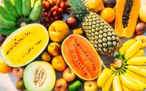 Картинка ягоды, арбуз, бананы, Фрукты, ананас, дыня