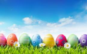 Картинка небо, трава, солнце, цветы, весна, Пасха, flowers, spring, Easter, eggs, decoration, Happy, яйца крашеные