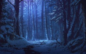 Обои снег, ручей, сумерки, art, зимний лес, Adai Ikue